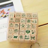 Wooden Rubber Stamp Box-Vintage Print Style Diary Stamps 25 PCS Stamp Pattern -Originality Stationery