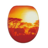 Wood Toilet Seat Cover with Animal Printing in Bathroom