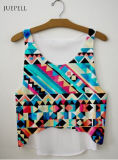 Guangzhou OEM Fashionable Scoop Neck Geometric Loose Crop Tank Top