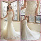 Strapless Bridal Formal Gown Mermaid Sweetheart Tulle Lace Wedding Dress Y11629