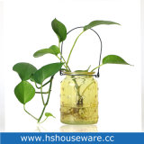 Flower Bud Colour Star Glass Vase with Iron Handle