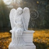 Garden Decoration Monument White Marble Stone Beautiful Angel Statue Sculpture