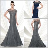 Lace Mother′s Gowns Cap Sleeves Grey Blue Evening Dresses D21510