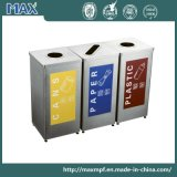 High Quality Manufacturer Separate Indoor Three Compartment Public Stainless Steel Recycling Trash Can