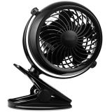 Clip on Desk Fan USB or Battery Operated 4 AA Batteries Required One Setting Mini Table Fan for Baby Stroller Office Dorm Home and Outdoor Using
