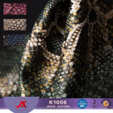 Embossed Gold Dust PVC Synthetic Leather Material Snakeskin Leather Fabric for Bags