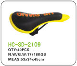 Leather MTB Saddle, Black and Yellow (SD-2109)