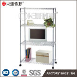 Hot Sale 4 Tiers Adjustable Household Chrome Steel Storage Rack Shelf with Wheels