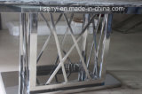Marble Top & Tempered Glass Top Stainless Steel Base Dining Table