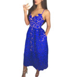 Wholesale Lady Blue Lace Hollow out Nude Illusion Party Dress