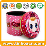 Customized Round Gift Tin Box with Explosive Oil Printing