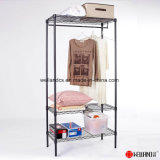 Light Duty 3 Tiers Movable Single Clothes Rail Black Epoxy Metal Wardrobe