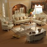Factory Wholesale Home Furniture Leather Sofa with Wood Coffee Table