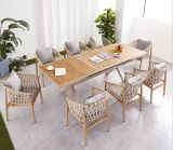 Hg Rope Aluminum Patio Garden Furniture Dining Table and Chair Set