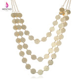 Fashion Simple Multi -Layer Alloy Clothing Accessories Sweater Coin-Chain Necklace