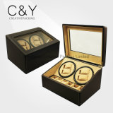 Black Cheap (4+6) Slots PU Leather Watch Winder with Stitching
