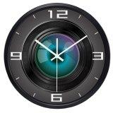 Creative Cameraman Camera Lens Funny Wall Clock, Super Silent Smooth Glass Clock for Men Women Family