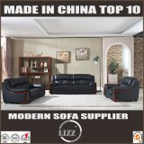 Genuine Black Color Leather Wooden Sofa