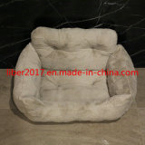 2018 Customized OEM SGS Luxury Tufted Cat Bed Cat Dog House Square Dog Bed Sofa Warm Soft PV Plush Pet Bed