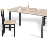 Wood Steel Dining Table and Chair