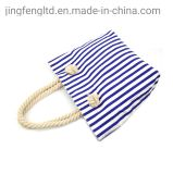 Best Selling Japan Fashion Bags Vintage Canvas Carry Tote Bag Eco Stripe Shopping Button Closure Cheap Lady Hand Bag