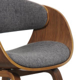 Fabric Upholstery Walnut Veneered Plywood Dining Chair (W13884-4)