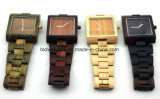 Hand Made Square Wooden Wrist Watches Mens Good for Promotion