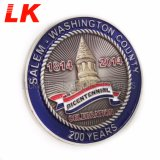 2018 Cheap Custom Made Plating Enamel Unique Tower Military Unit Silver Coins