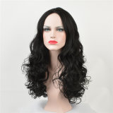 Competitive Price Kanekalon Natural Black Synthetic Long Curly Wig