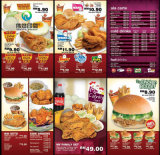 High Quality Custom Fast Food Menu / Restaurant Folded Flyer Brochure Printing