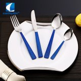 Wholesale Cheap Conveniently Portable Stainless Steel Blue Handle Dinnerware