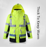 Traffic Safety Thick Cotton-Padded Fluorescent Reflective Coat for Men