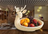 Hotel Wholesale Pure Handmade Food Grade PP Creative European Style Inmitation Rattan Fruits Basket, High Temprature Resistance and Wash Easily