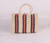 Black and White Color Weaving Pattern Straw Bag Beach Ladies Tote Handbag
