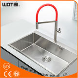 Red Pipe Brushed Nickel Mixer for Kitchen