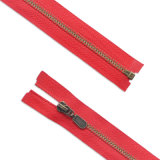 #5 Metal Antibrass Teeth Red Tape Ride Slider Open End Zipper