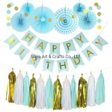 Anniversary Party Decorations Happy Anniversary Banner Tissue Paper Tassle Paper Banner Hanging Paper Fans for Wedding Anniversary Party Birthday Annive