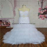 White Ruffle Lace Beading Wedding Dress