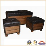 3 PC Large Faux Leather Wooden Trunk with Nailhead Trim