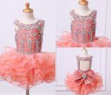 Pink Scoop Beaded Ball Flower Girl Dresses