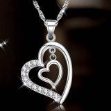 Double Heart Pendants Wedding Jewelry 925 Sterling Silver Necklace