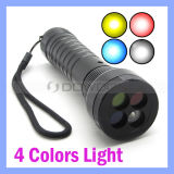 CREE R2 White Red Yellow Blue 4 Color Signal Strobe LED AAA 18650 Railway Flashlight
