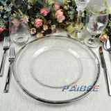 Hot Selling Cheap 13inch Gold Electroplating Glass Dinner Charger Plate with Unique Pattern Plate