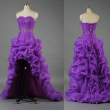 Wholesale Front Short Long Back High Low Organza Ruched Purple Prom Dress Wedding Evening Party Gown