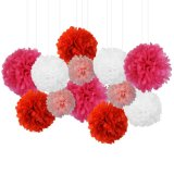 Wholesale Party Hanging Decoration 12 Inch Red Tissue Paper POM POM