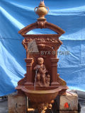Beige Marble Wall Fountain with Carved Kid