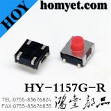 Tact Switch with Red Round Button 6.2*6.2mm 4pin (HY-1157G-R)