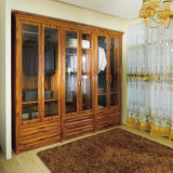Oppein Custom Brown Wooden Wardrobe with Glass (OPY09-30)