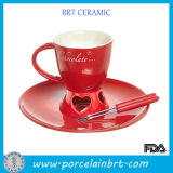 Red Ceramic Cup Set Fondue Grill
