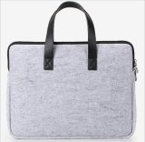 Felt Tote Bag with PU Leather Handle, Felt Officer Bag with Duoble Zipper Closure